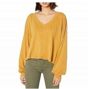 Free People Buffy Tee Gold Oversized Top Shirt
